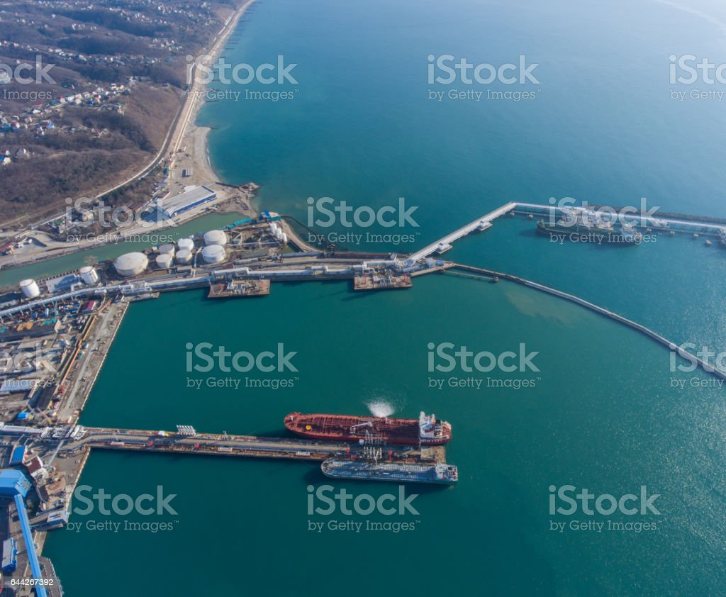Aerial view of the sea port stock photo