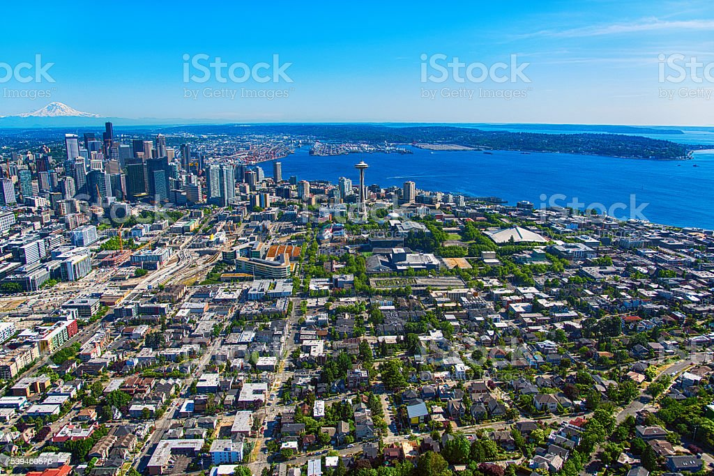 Aerial View of the Seattle Washington and Suburban Region stock photo