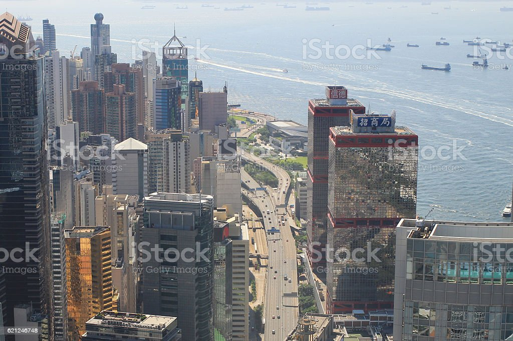 aerial view of the Sheung Wan at IFC stock photo