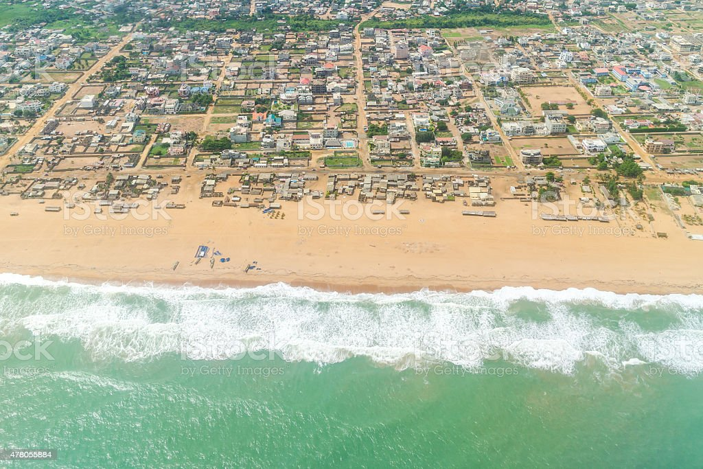 Aerial view of the shores of Cotonou, Benin stock photo