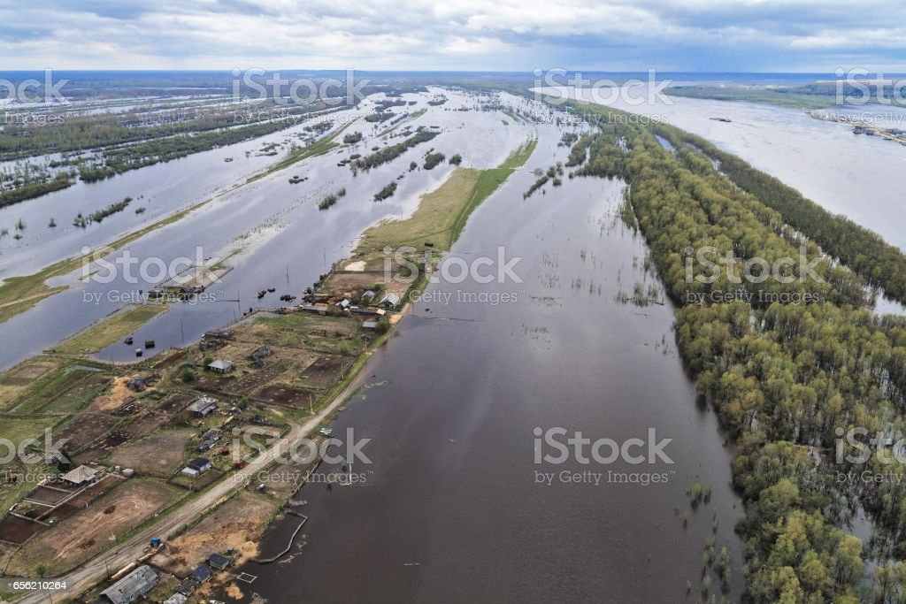 Aerial view of the Siberian river Irtysh stock photo