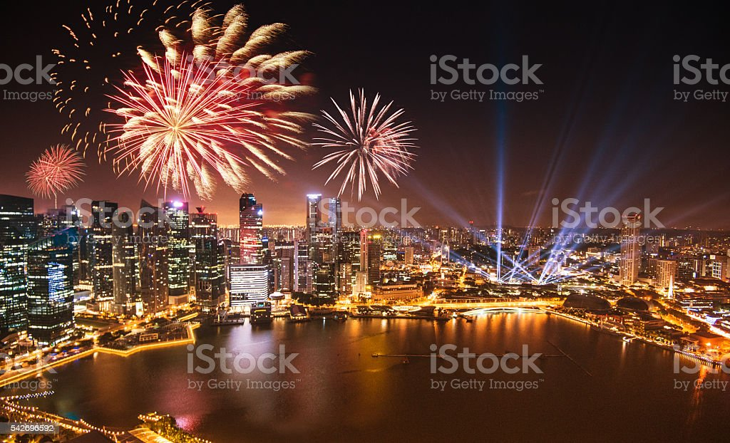Aerial view of the Singapore Skyline and Marina Bay stock photo