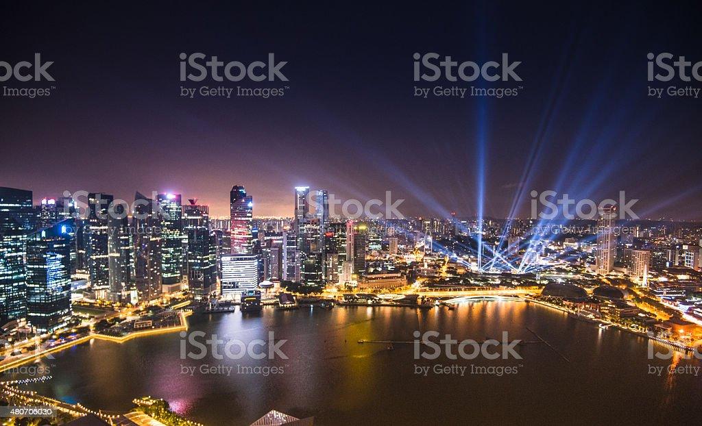 Aerial view of the Singapore Skyline stock photo