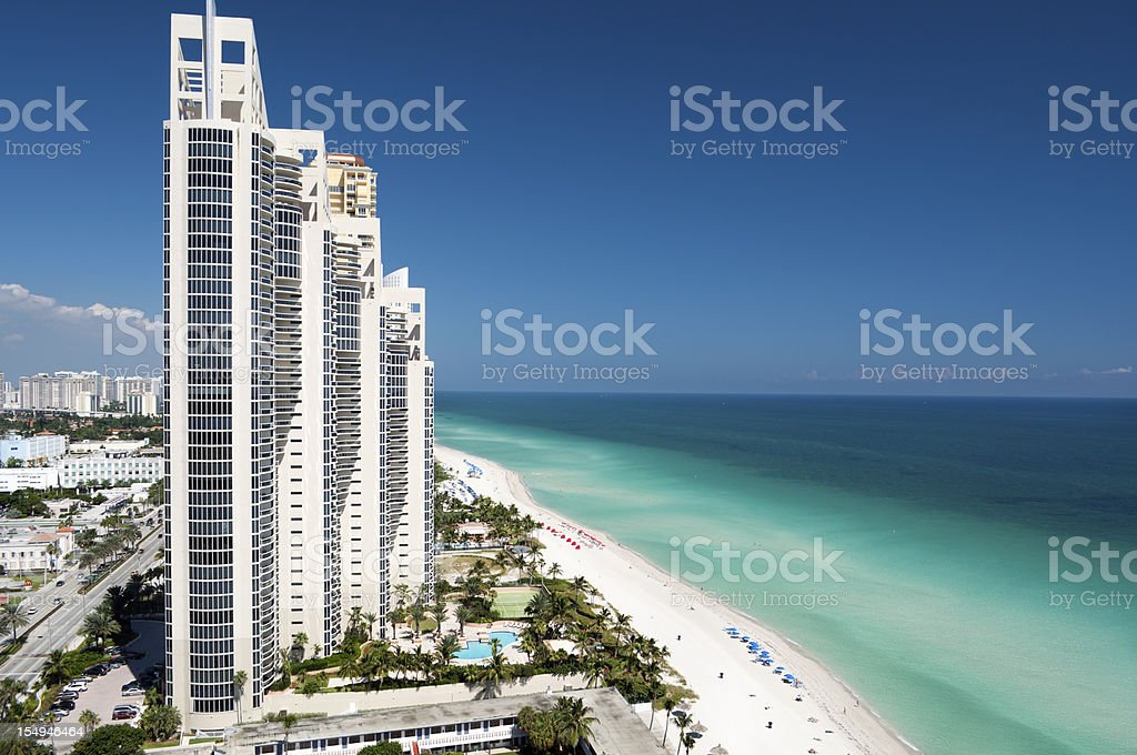 aerial view of the skyline in Miami, Florida stock photo