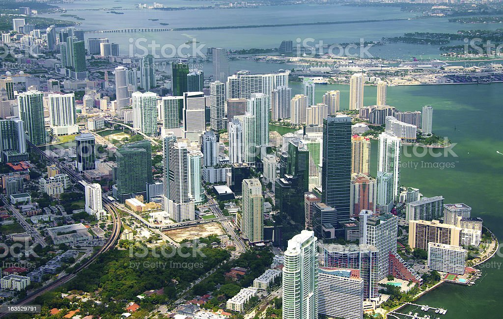aerial view of the skyline in Miami, Florida. royalty-free stock photo