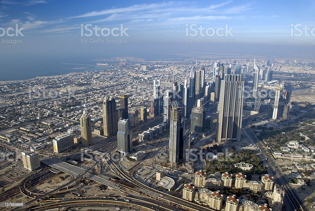 Aerial view of the Skyline of Dubai royalty-free stock photo