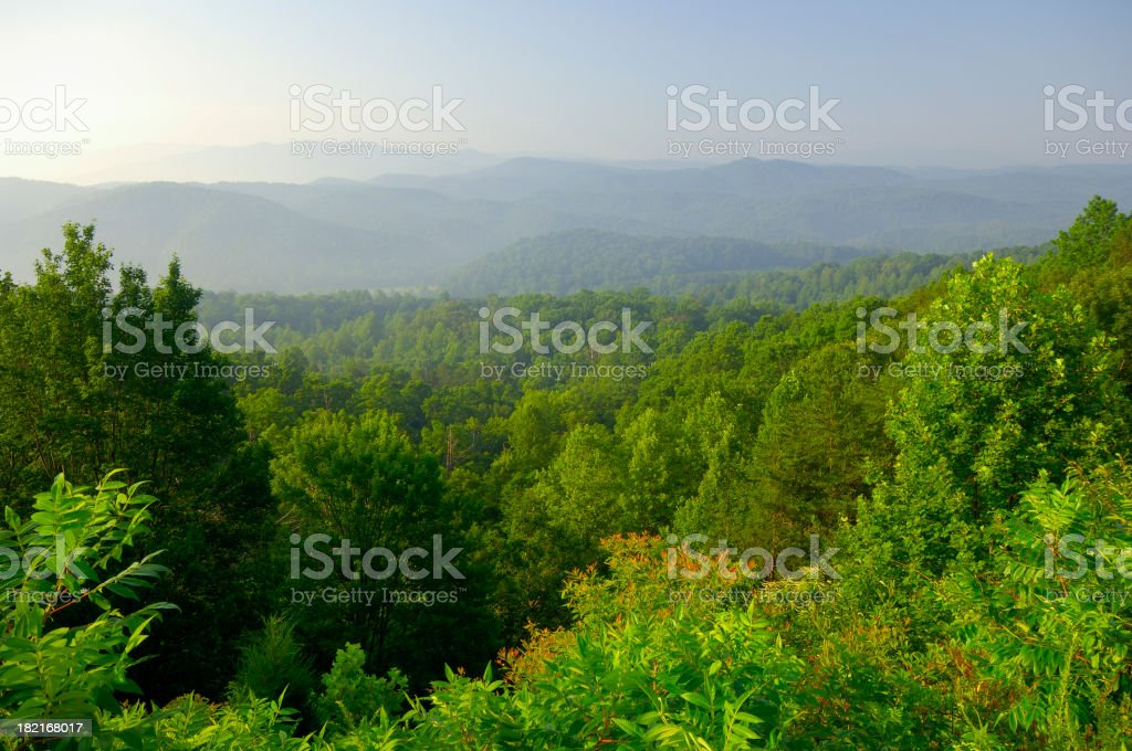 Aerial view of the Smoky Mountain Foothills stock photo