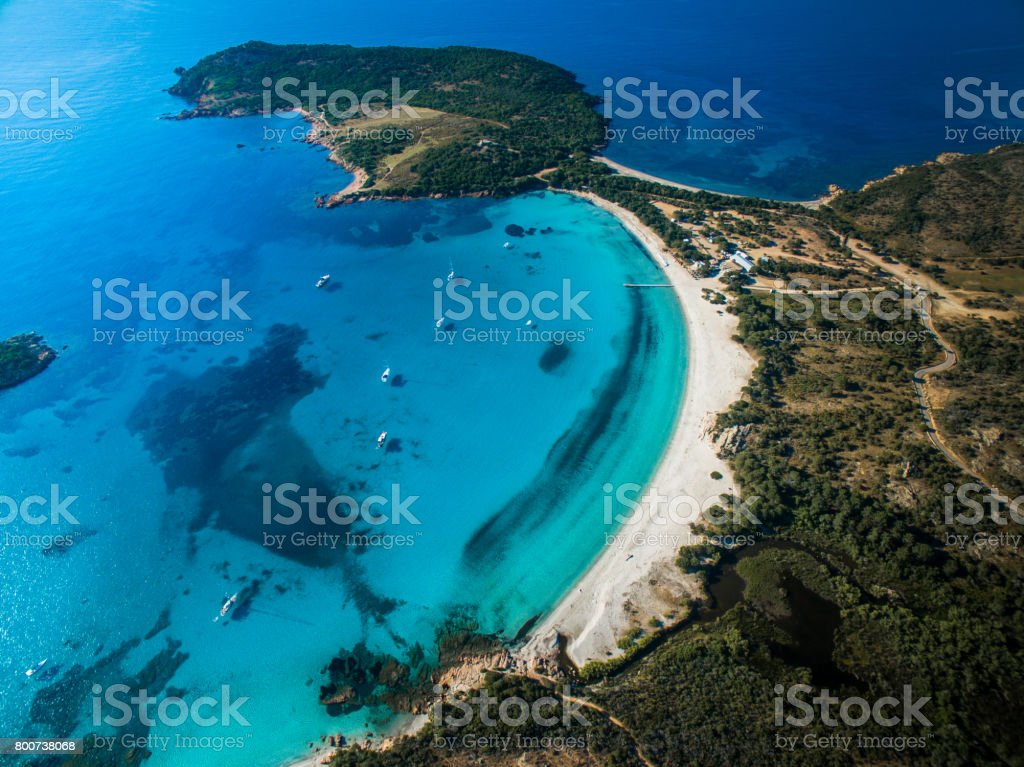 Aerial View of the Splendid Rondinara Beach, Corsica, France stock photo