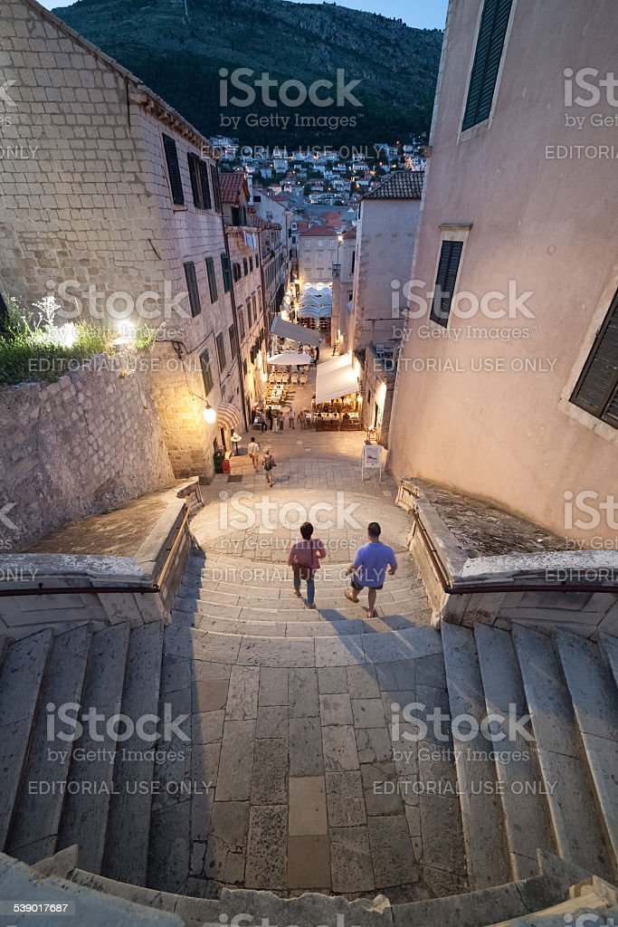 aerial view of the stairs in Dubrovnik stock photo