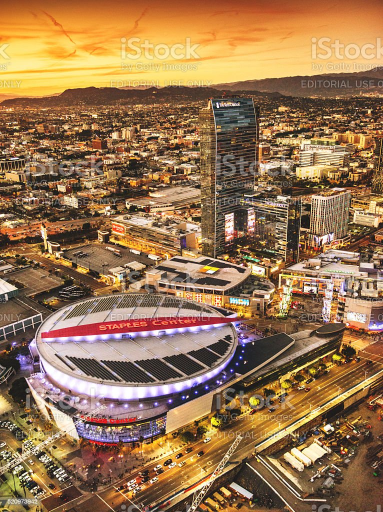 Aerial view of the Staples Center Arena stock photo