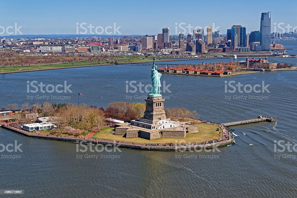 Aerial view of the Statue of Liberty in New York stock photo
