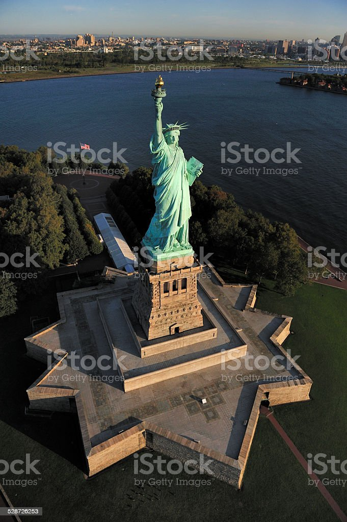 Aerial view of the Statue of Liberty, New York stock photo