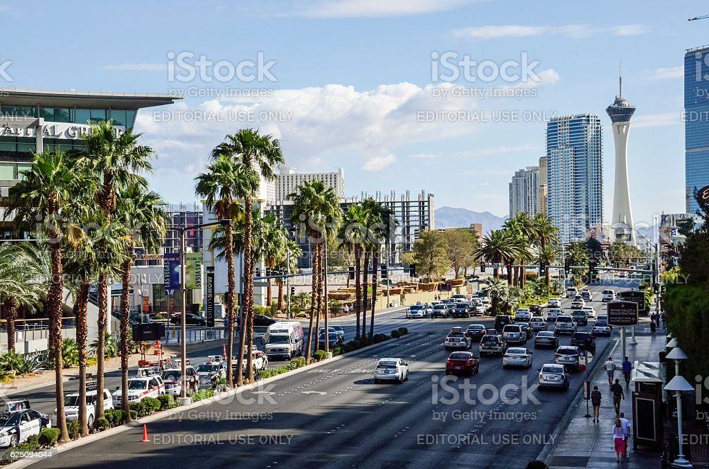 Aerial view of the strip with many lanes and cars stock photo