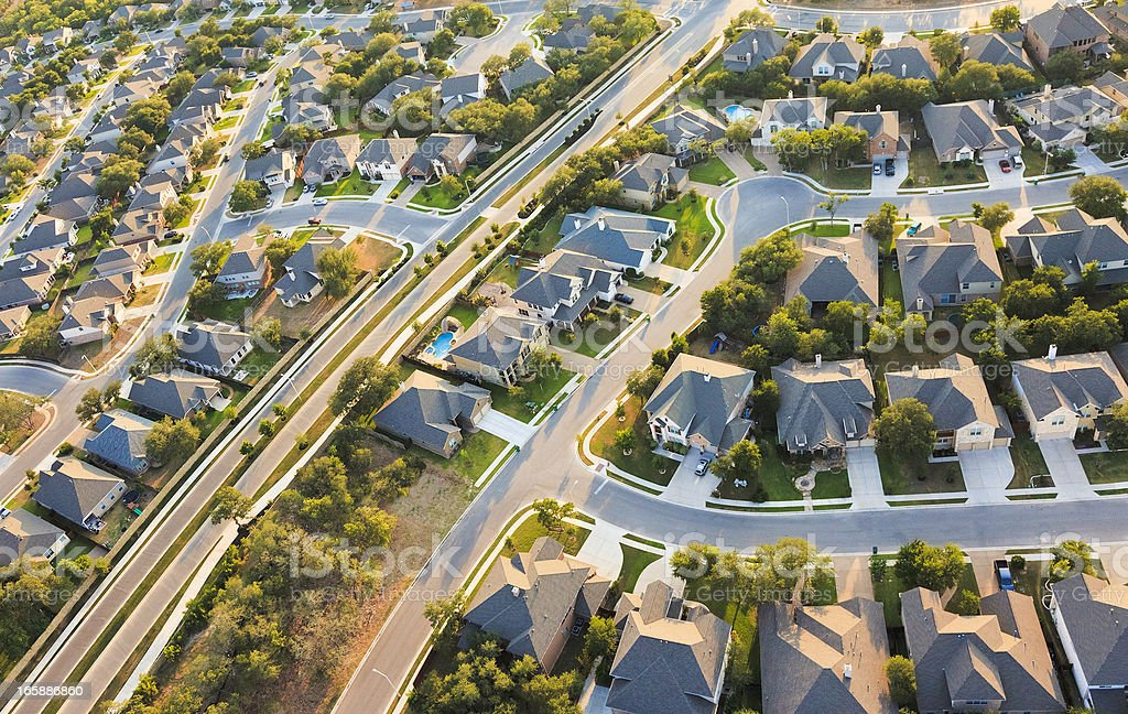 Aerial View of the Suburbs stock photo