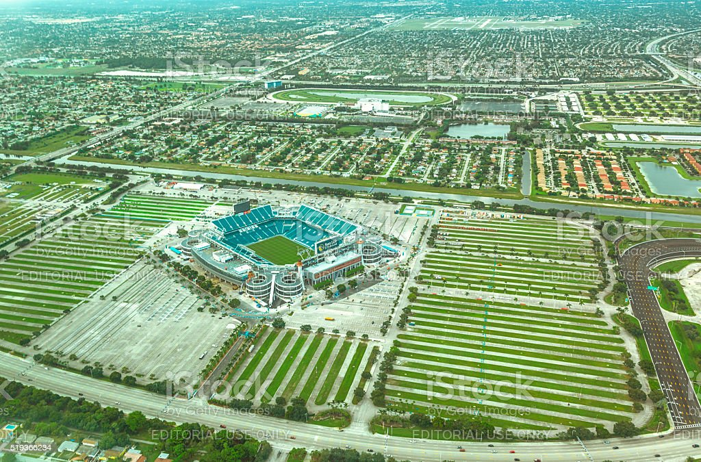 Aerial view of the Sun Life Stadium stock photo