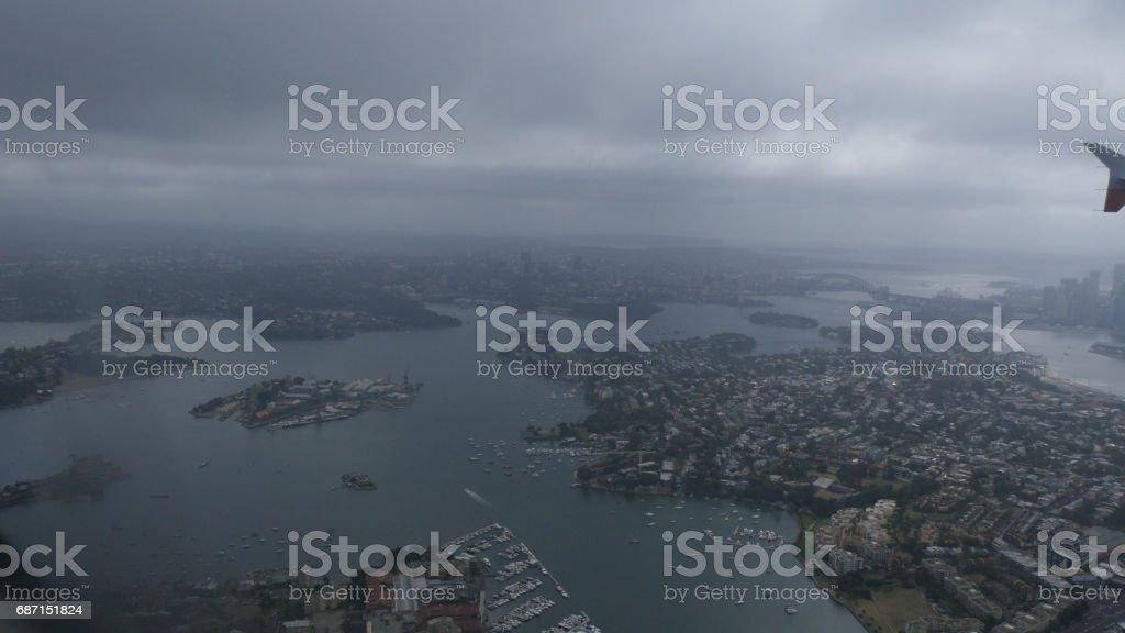 Aerial View of the Sydney Harbour Bridge 4k stock photo