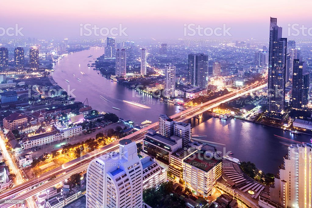 Aerial View of the the Bangkok Skyline Thailand stock photo