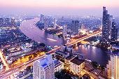 Aerial View of the the Bangkok Skyline Thailand