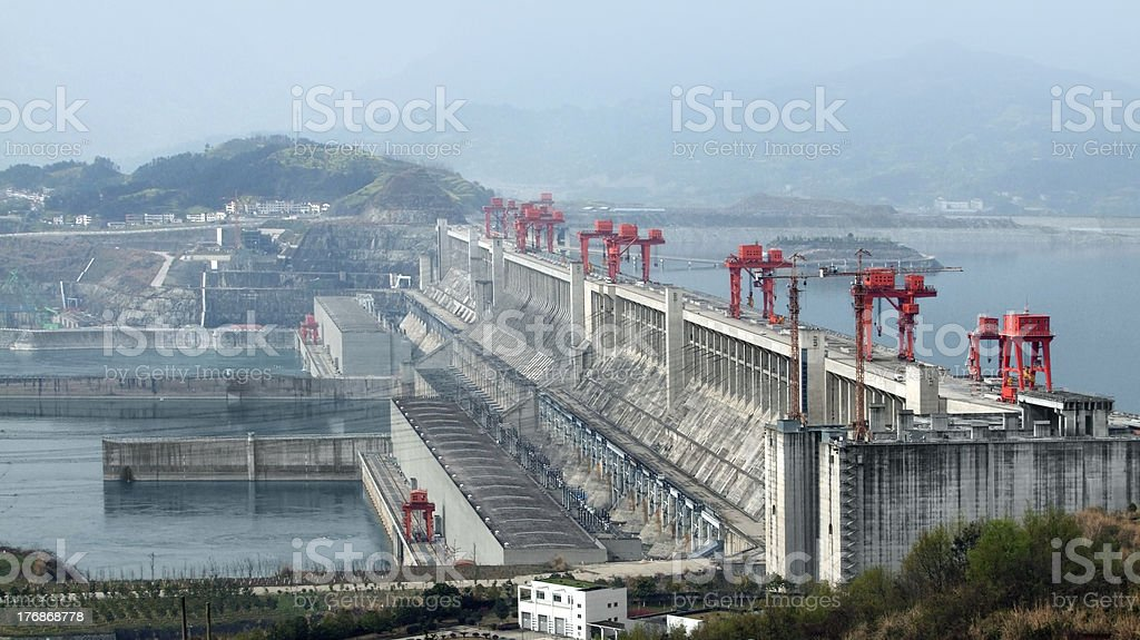 Aerial view of the Three Gorges Dam in China stock photo