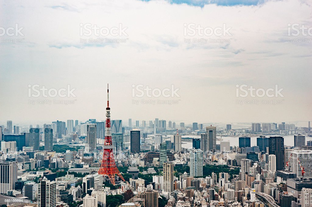 Aerial view of the Tokyo City and Tokyo Tower stock photo