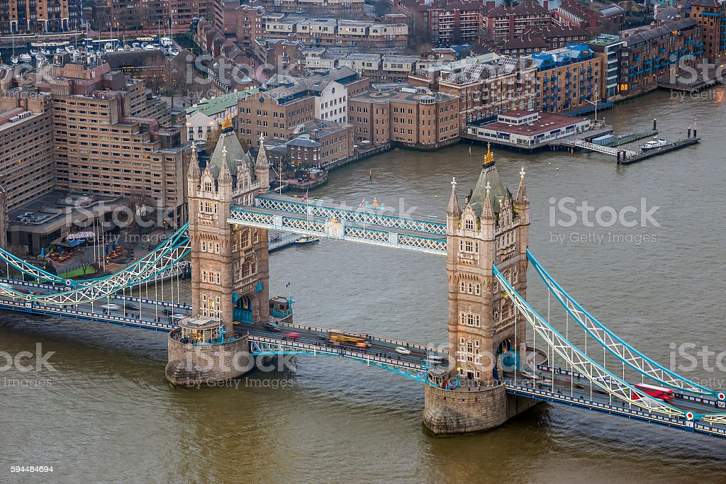 Aerial view of the Tower Bridge with red double-decker bus stock photo