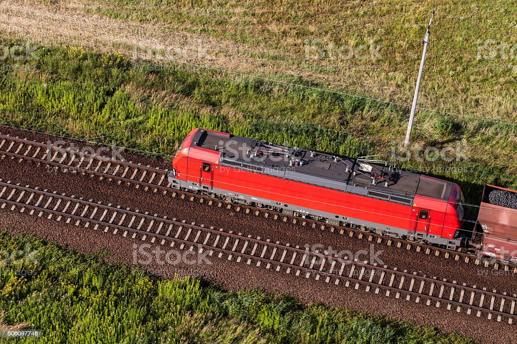 aerial view of the train and railway track stock photo