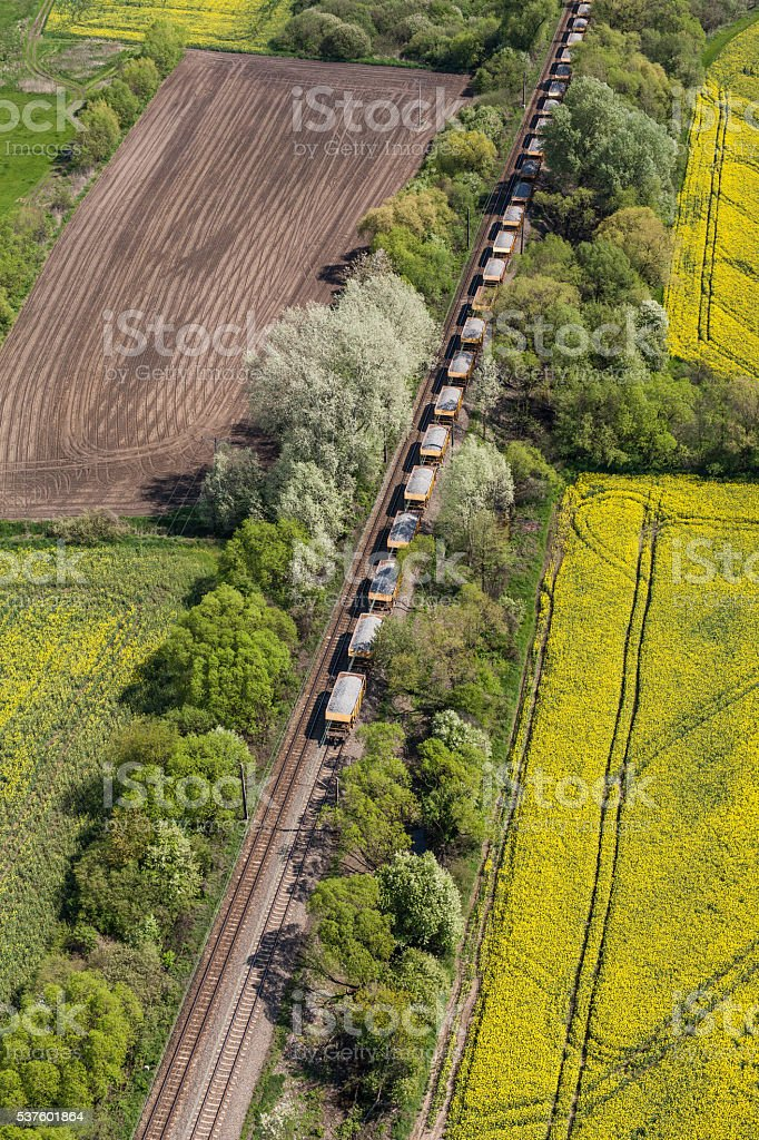 aerial view of the train on the railway track stock photo