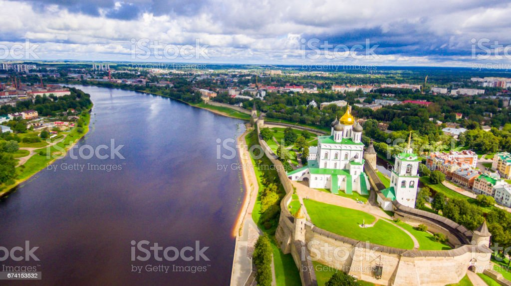 Aerial view of the Trinity Cathedral, Pskov Kremlin stock photo