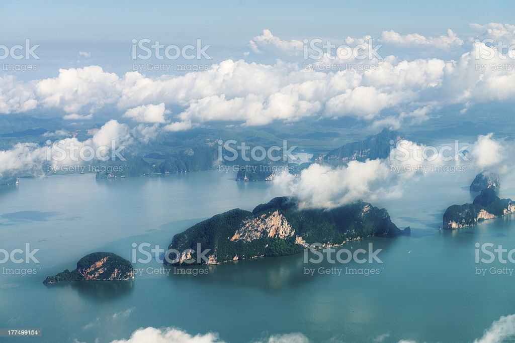 Aerial view of the tropical islands stock photo