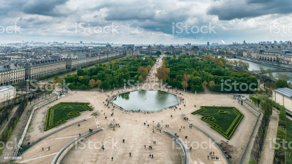 Aerial view of the Tuileries Garden, Jardin des Tuileries, Paris, France stock photo