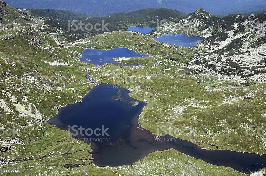 Aerial View of the Twin and Fish Lakes stock photo