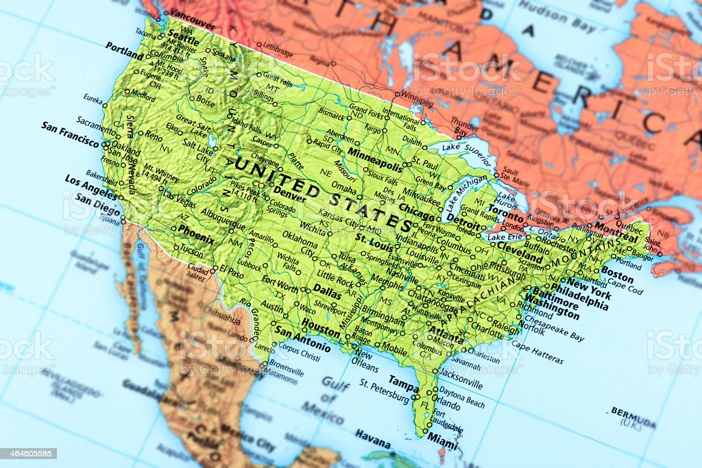 Aerial view of the United States map stock photo