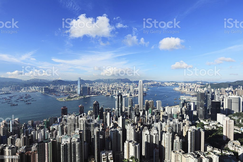Aerial view of the Victoria harbor in Hong Kong royalty-free stock photo