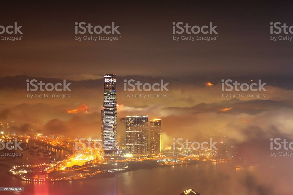 Aerial View of the Victoria harbour, Hong Kong stock photo