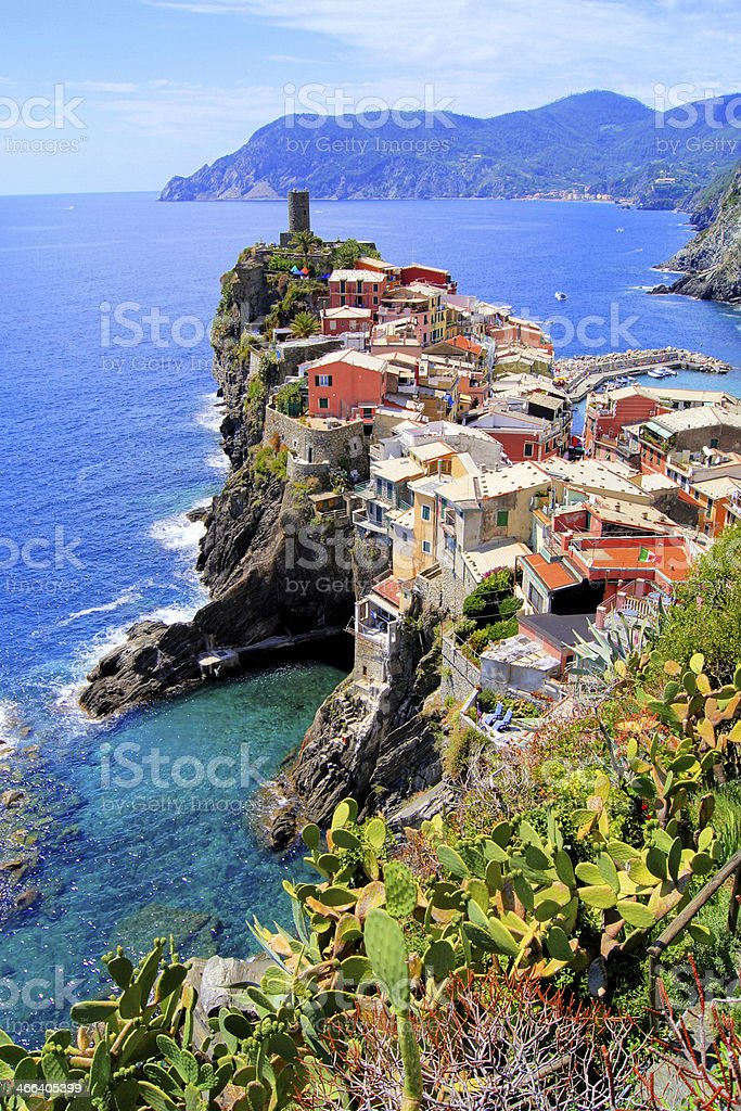Aerial view of the village of Vernazza, Cinque Terre, Italy stock photo