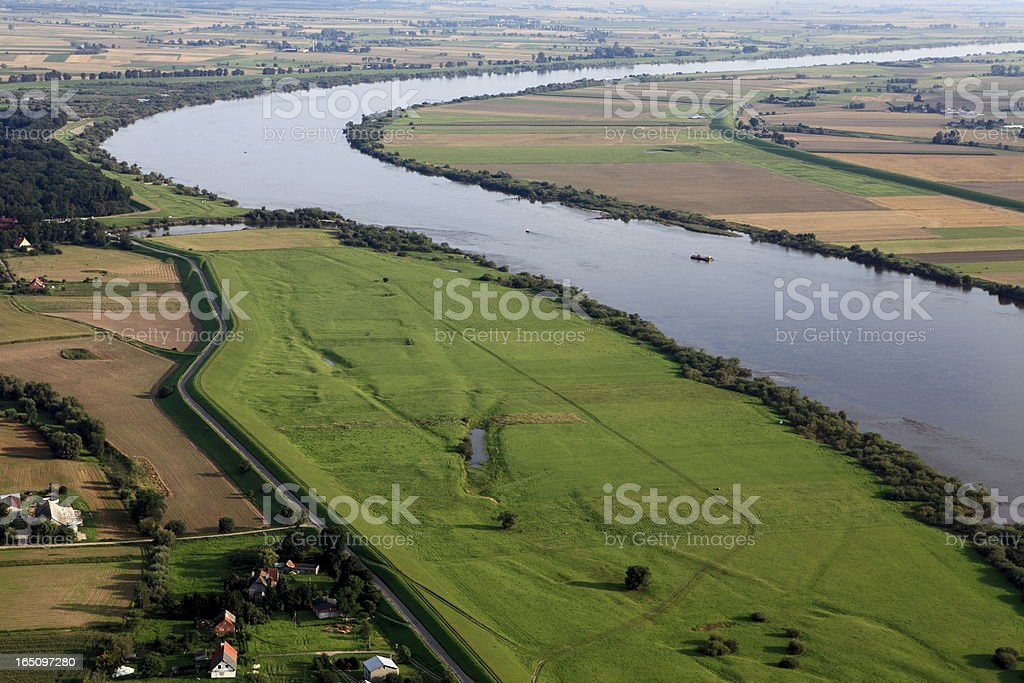 Aerial view of the Vistula river and cultivated fields royalty-free stock photo