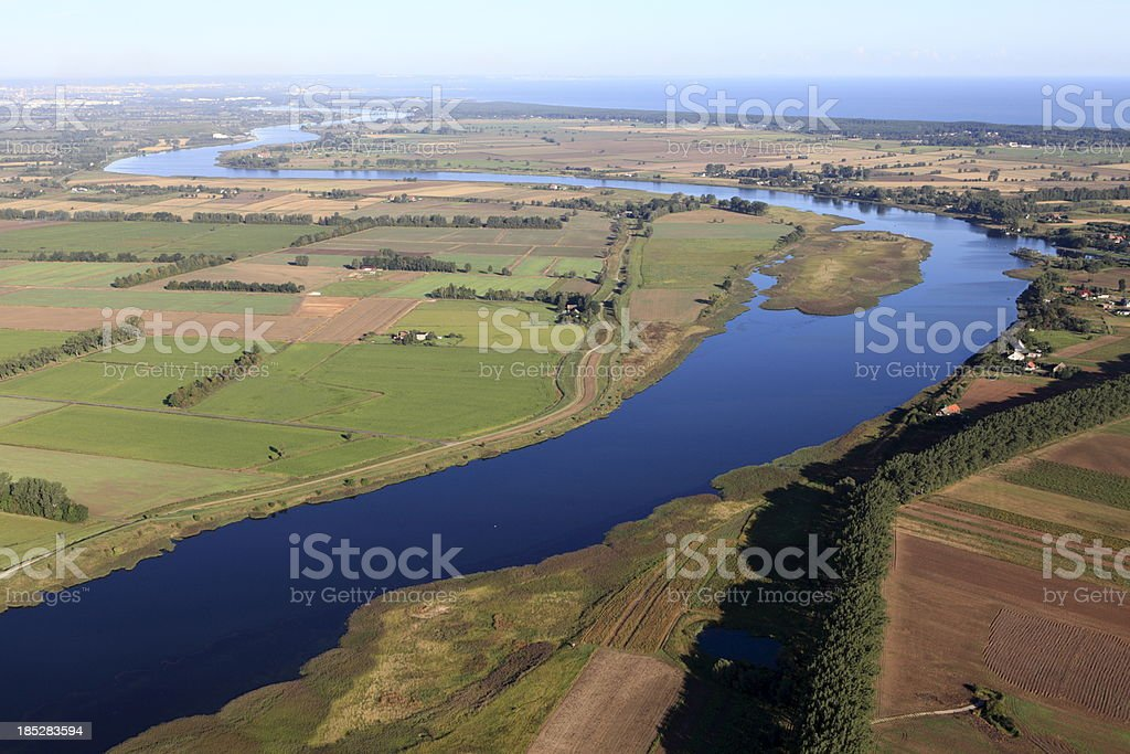 Aerial view of the Vistula river royalty-free stock photo
