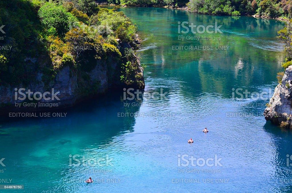 Aerial view of the Waikato River near Taupo, New Zealand stock photo