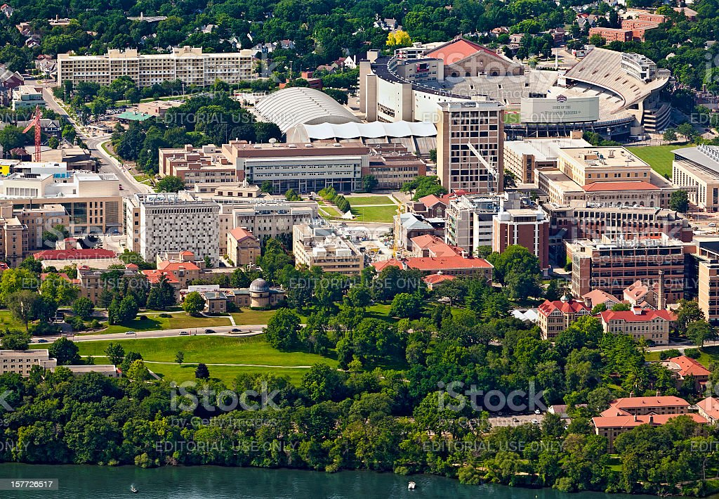 Aerial view of the west campus in Madison, Wisconsin stock photo