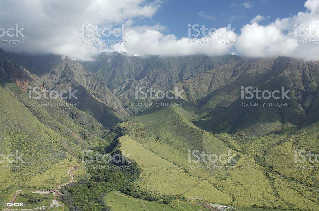 Vue aérienne de l'ouest de Maui Mountains- Olawalu photo libre de droits