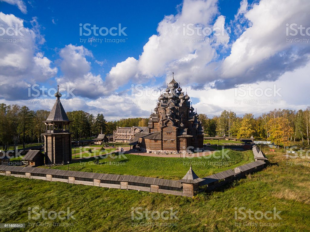 Aerial view of the wooden church in Russia stock photo