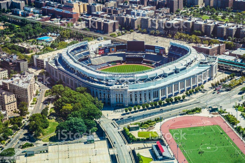Aerial view of the Yankee Stadium stock photo