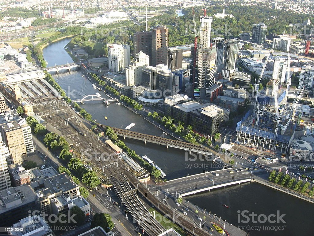 Aerial view of the Yarra River in Melbourne royalty-free stock photo