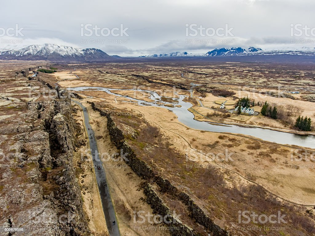 Aerial View of Thingvellir National Park in Iceland stock photo