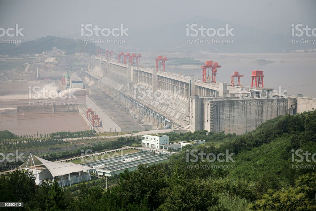 Aerial view of Three Gorges Dam on a foggy day stock photo