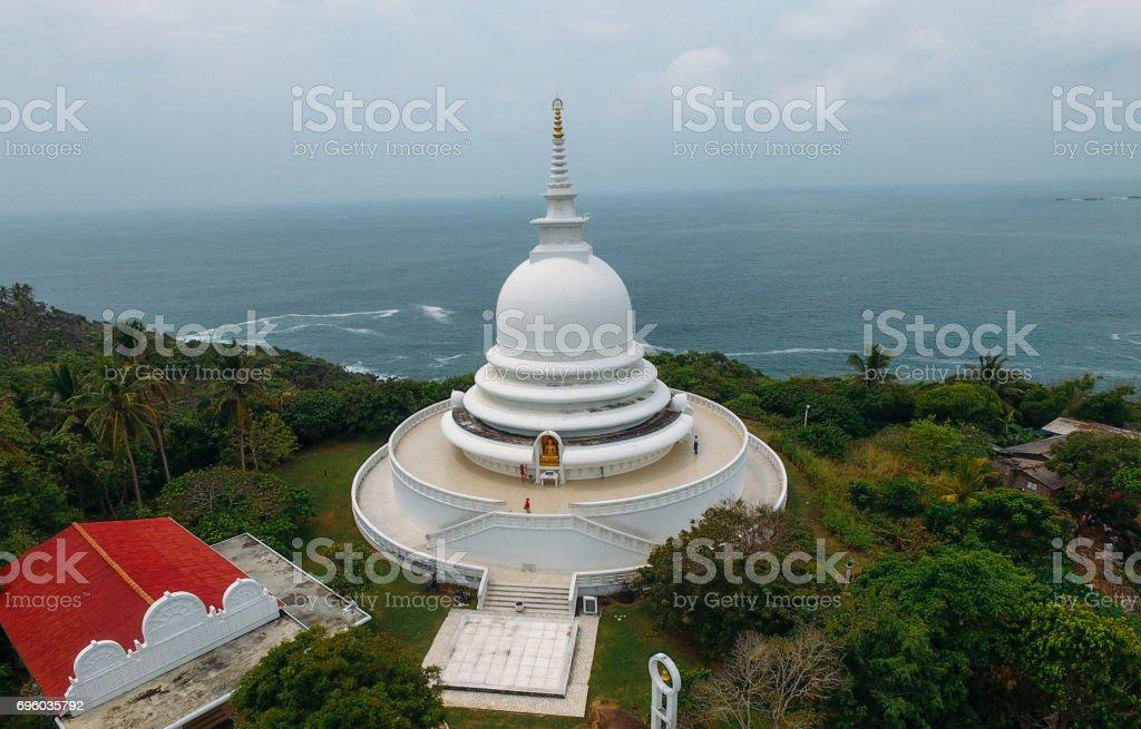 Aerial view of Thuparamaya Dagoba (Stupa) and Buddhist Flags, Anuradhapura, Sri Lanka stock photo