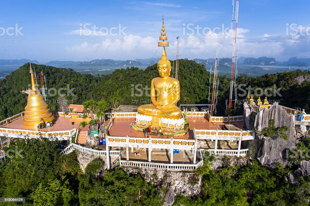 Aerial view of Tiger Cave Temple at Krabi province, Thailand. stock photo