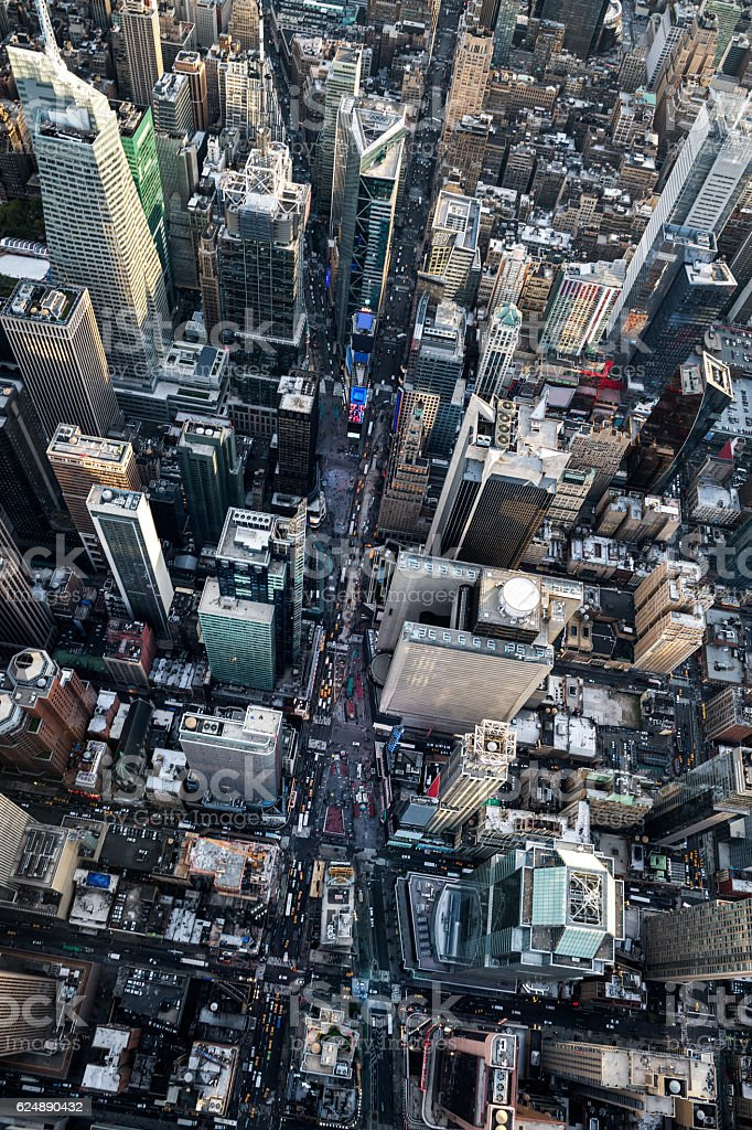 Aerial view of Time Square stock photo