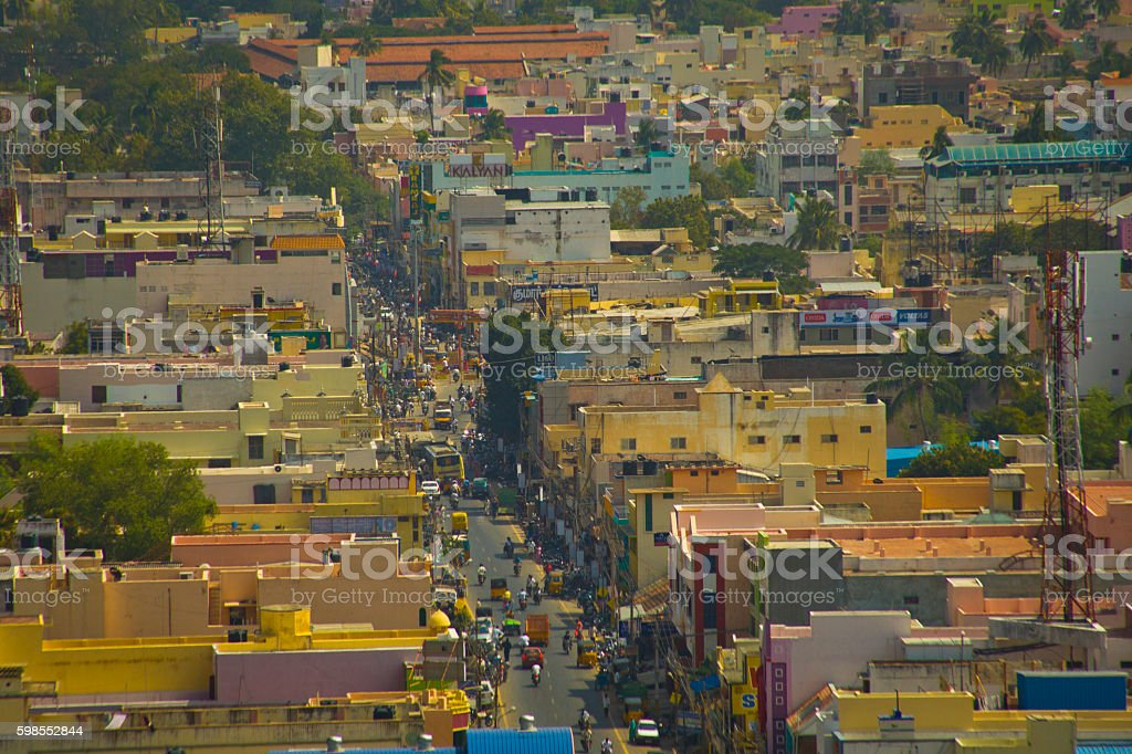 Aerial view of Tiruvanamalai, Tamilnadu, India stock photo
