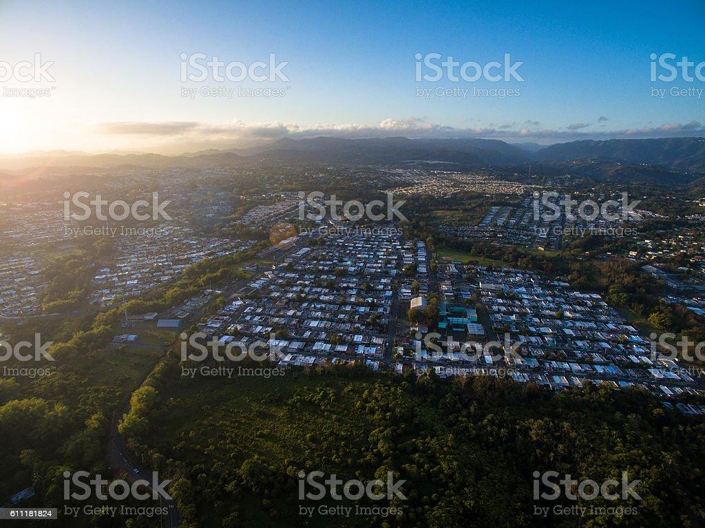 Aerial view of Toa Alta Puerto Rico stock photo
